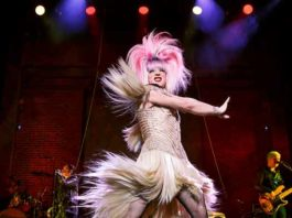 """Euan Morton as Hedwig in """"Hedwig and the Angry Inch."""" Photo by Joan Marcus"""