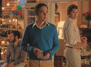 "Jim Parsons on left in a scene from ""Boys in the Band"""