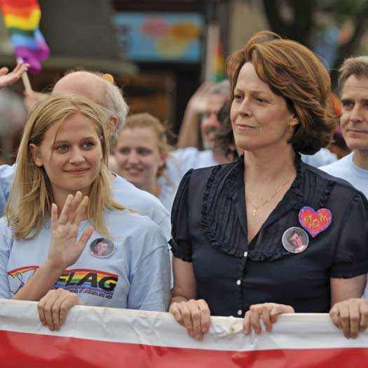 """Scene from """"Prayers for Bobby"""" with Sigourney Weaver on right"""