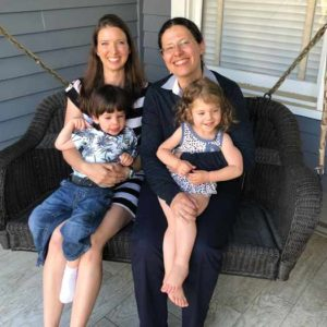 Daniellle Macario and Tanya Borsuk with their children, William and Michayla