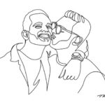 Gay couple kissing in a line drawing
