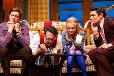 "Colin Hanlon, Jonathan Kite, Kate Reinders an Zach Shaffer in ""The Nerd"" at George Street Playhouse"