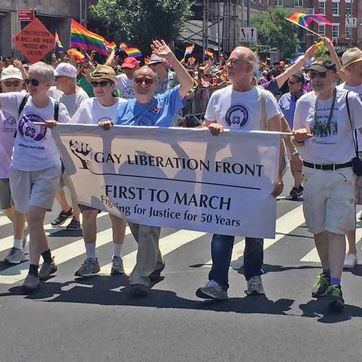 "On June 30th a group of longtime LGBTQ activists marched down Fifth Avenue carrying a banner that read: ""Gay Liberation Front: First To March."""