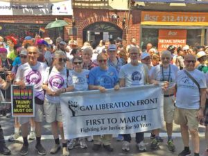 The GLF contingent in front of the Stonewall Inn