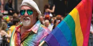 Gilbert Baker, Rainbow Flag creator at 2012 San Francisco Pride festival
