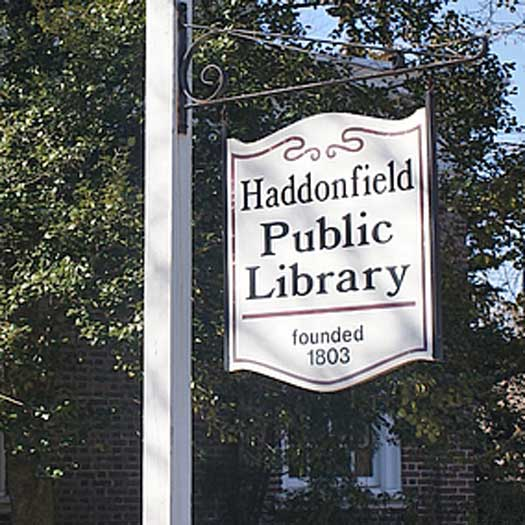 Haddonfield, NJ Public Library signpost
