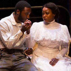 """Intimate Apparel"" scene with Galen Kane and Quincy Tyler Bernstines. Photo by T Charles Erickson."