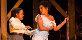 "Scene from ""Intimate Apparel"" with Quincy Tyler Bernstine and Jessica Frances Dukes. Photo by T Charles Erickson."