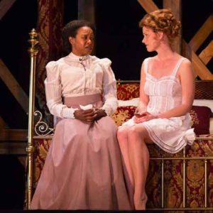 "Scene from ""Intimate Apparel"" with Quincy Tyler Bernstine and Kate MacCluggage. Photo by T Charles Erickson."