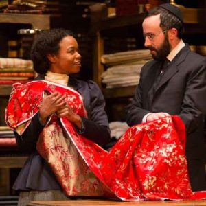 "Scene from ""Intimate Apparel"" with Quincy Tyler Bernstine and Tasso Feldman. Photo by T Charles Erickson."