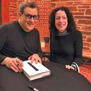 Issac Mizrahi and Cora Berke at McCarter Theatre for the interview and book signing.