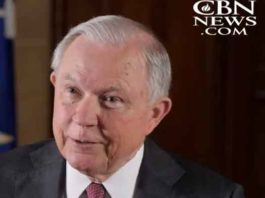 Jeff Sessions on CBN cable network in June 2018