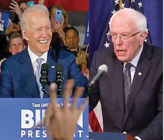 Joe Biden and Bernie Sanders at sepearte debates on stage