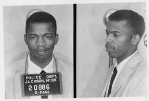 "A 1961 Mugshot of John Lewis after he was  arrested for using a ""whites only"" restroom"