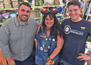 Jon Oliveira, Director of Communications & Membership at GSE at Jersey Pride 2019 on the right. Christian Fuscarino, GSE Executive Director - left and Abby Maisonave in center