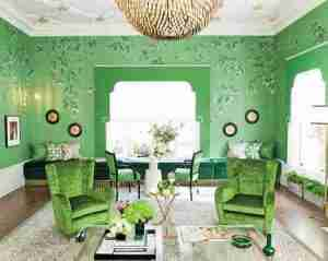 A very green room designed by Jonathan Rachman