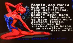 "Yasmin in the video game ""Circuits Edge"""