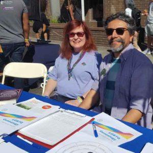 Victoria Kolakowski, left, and Stewart Blandón Traiman staffed the California Genealogical Society's table at Oakland Pride in 2018