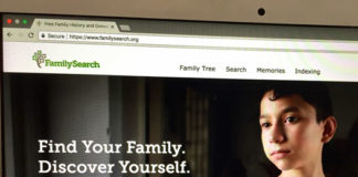 The homepage of FamilySearch.org