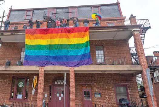 New Hope Celebrates raised its 25-foot Rainbow Equality flag