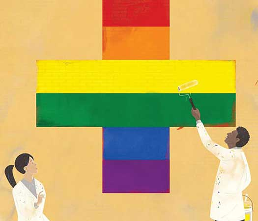 LGBT Health rainbow cross with doctors