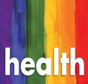 HEALTH letters on a rainbow backround