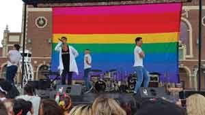 Leonardo Martinez on the big stage at Jersey Pride in Asbury Park in 2017