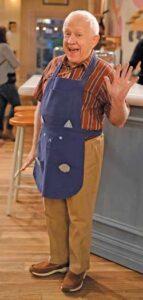 "Leslie Jordan on the set of ""Call Me Kat."""