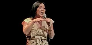 Margaret Cho on stage in New York in 2017. Photo by Will Loschiavo