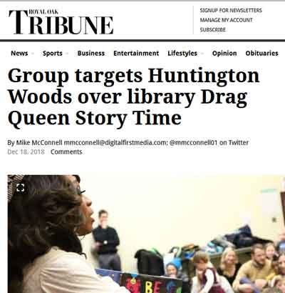 Mass Resistance protests against Drag Queen story hour in Michigan
