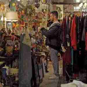 Matthew Camp visiting one of his vintage store haunts