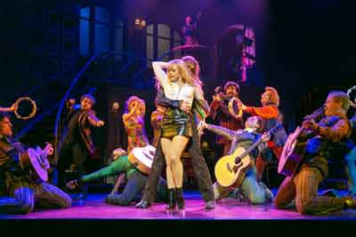 """""""My Very Own British Invasion"""" at Paper Mill Playhouse with Erika Olson (Pamela) and Conor Ryan (Trip) with the company. Photo by Jerry Dalia."""