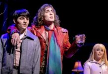 """""""My Very Own British Invasion"""" at Paper Mill Playhouse. Jonny Amies (Peter), Conor Ryan( Trip) Erika Olson (Pamela) and Kyle Taylor Parker (Geno). Photo by Jerry Dalia"""
