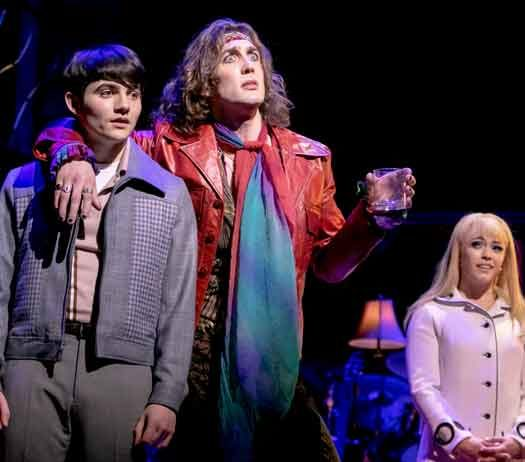 """My Very Own British Invasion"" at Paper Mill Playhouse. Jonny Amies (Peter), Conor Ryan( Trip) Erika Olson (Pamela) and Kyle Taylor Parker (Geno). Photo by Jerry Dalia"