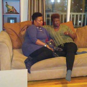 Kimberlee Williams and wife Tashia Burton at home. Photo by Jae Quinlan.