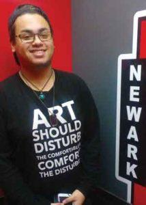 Rutgers-Newark freshman Anthony Escarraman in dorm room. Photo by Jae Quinlan