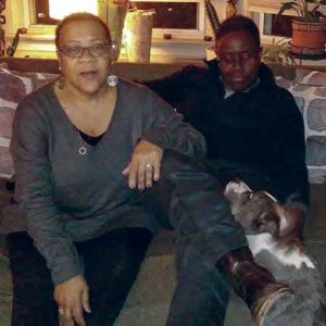 Saundra Toby-Heath and Alicia Toby-Heath with their dog Blue. Photo by Jae Quinlan