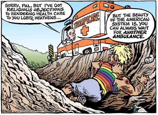 Editorial cartoon on religious freedom law problem for LGBTs