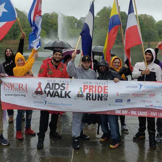 The NJCRI folks on a rainy day for the NJ AIDS Walk in Newark on May 5, 2019