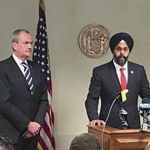 NJ Governor Phil Murphy and State Attorney General Gurbir Grewal