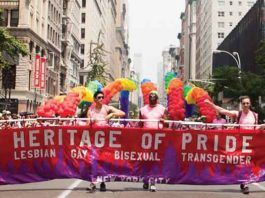 Heritage of Pride banner at NYC Pride Parade