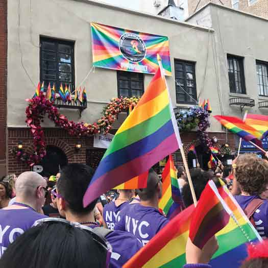 New York City Pride Parade 2018 in front of the Stonewall bar