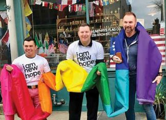Matt Hanson, Vice President, and Dan Brooks, Founder went to pick up the new Rainbow Equality Flag for 2017