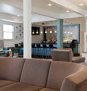 Large Lobby and the Hotel bar in backround at Hotel Tides in Asbury Park