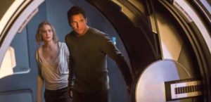 """Passengers"" stars Jennifer Lawrence and Chris Pratt."