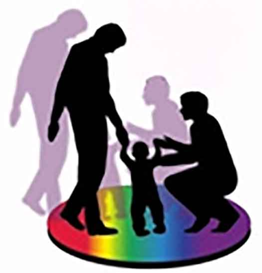 Rainbow circle with family and a child