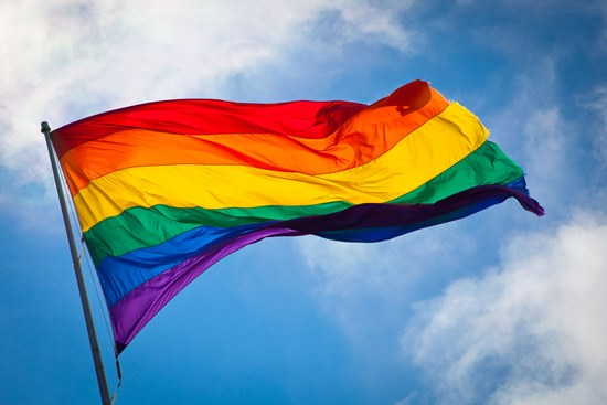 LGBT Rainbow Flag flying
