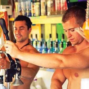The bartenders at Purple Parrot Bar in Rehoboth Beach Delaware