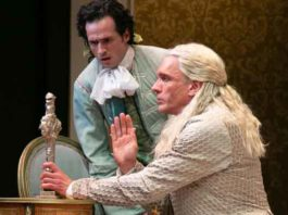 """""""Tartuffe"""" by Molière at The Shakespeare Theatre of NJ. Pictured Aaron McDaniel as Damis and Brent Harris as Tartuffe. Photo by Jerry Dalia."""