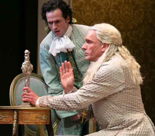 """Tartuffe"" by Molière at The Shakespeare Theatre of NJ. Pictured Aaron McDaniel as Damis and Brent Harris as Tartuffe. Photo by Jerry Dalia."